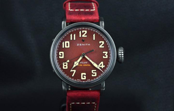 时尚复古 真力时Pilot系列勃艮第红色腕表实拍