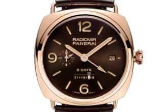 沛纳海日动力储存两地时间红金腕表