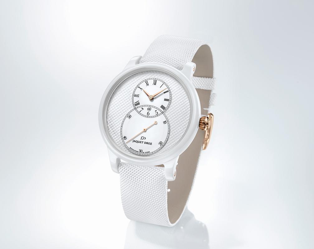 雅克德罗回归纯白初心推出白色陶瓷巴黎格纹大秒针腕表