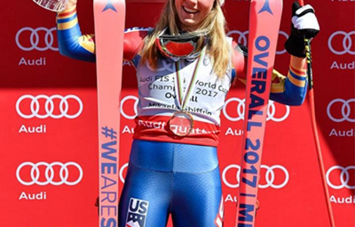 浪琴表优雅形象大使米凯拉·席弗琳(MIKAELA SHIFFRIN)首夺国际滑雪联会高山滑雪世界杯总冠军
