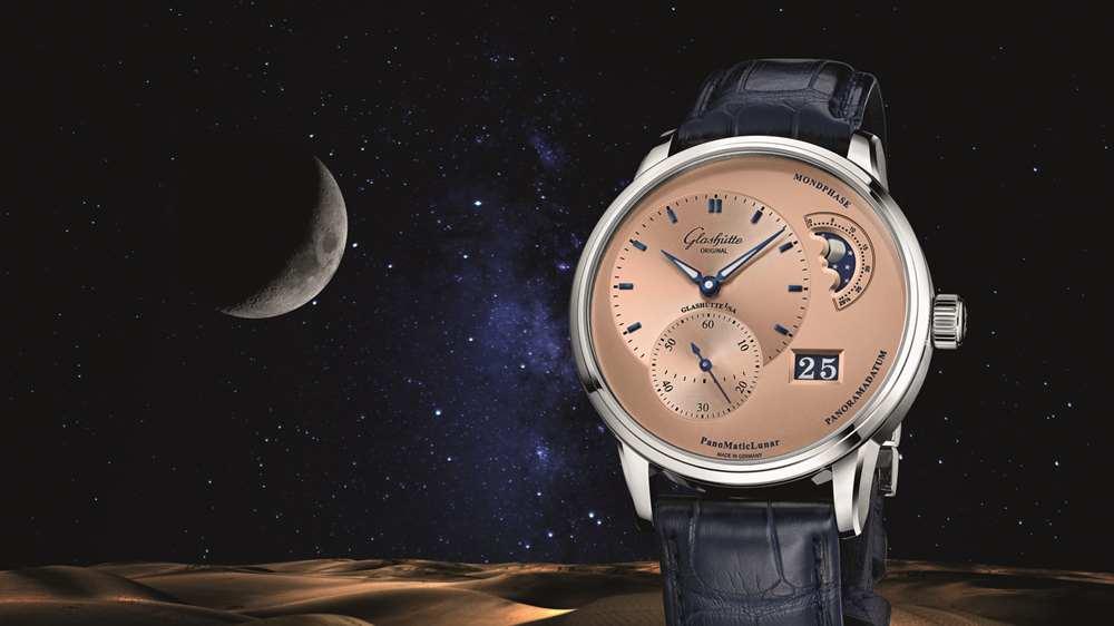 反差之美,魔力非凡,格拉苏蒂原创偏心月相腕表新增限量古铜金腕表