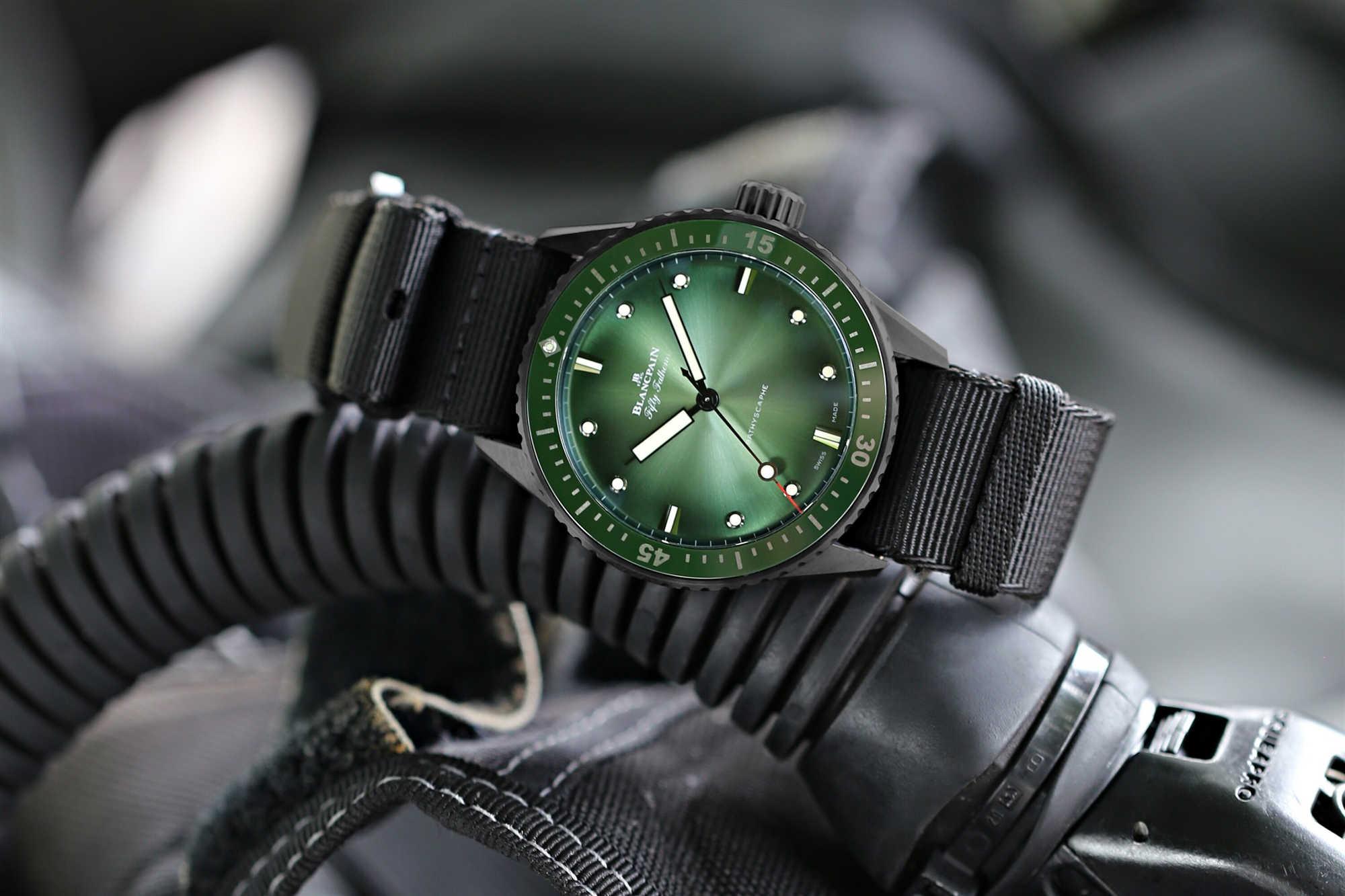绿色深海极光,2020闪耀问世 | 宝珀Blancpain五十噚首枚绿色深潜器限量腕表