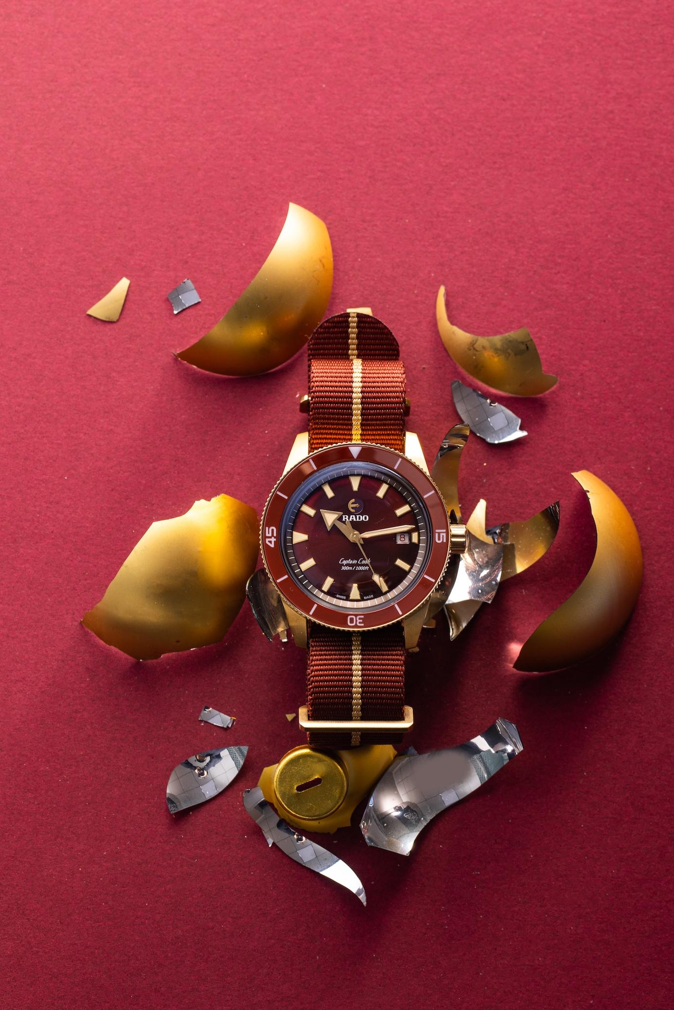 """红库克锁定新年""""红""""运 Rado瑞士雷达表Captain Cook库克船长勃艮第红青铜腕表"""