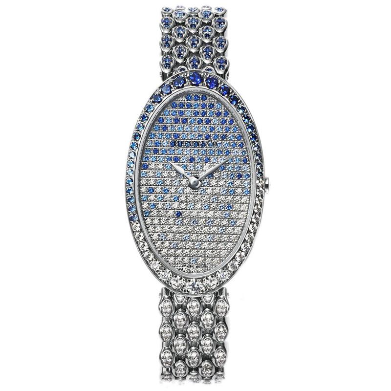 蒂芙尼 TIFFANY COCKTAIL系列 18k白金镶嵌钻石和蓝宝石 女士